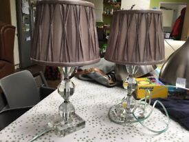 Pair of table bedside lights with grey/lilac shades