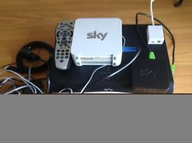 Sky Box & Accesories for Sale with Modem, Controls, Phone Connection and Cables