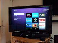 "40"" Samsung TV with Sharp Soundbar & Roku Streaming Box"