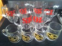 Preowned Skol pint glasses x 6 and Dry Blackthorn cider half pint glasses x 4