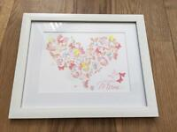 Heart picture, personalised for Mother's Day. 3D word art