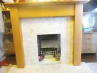 solid wood surround with marble back marble hearth in excellent condition fire not included