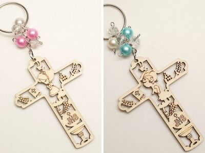 12 PC Wood Laser Cut Cross First Communion JHS Girl Boy Keychain Favors (Boy First Communion Cross)