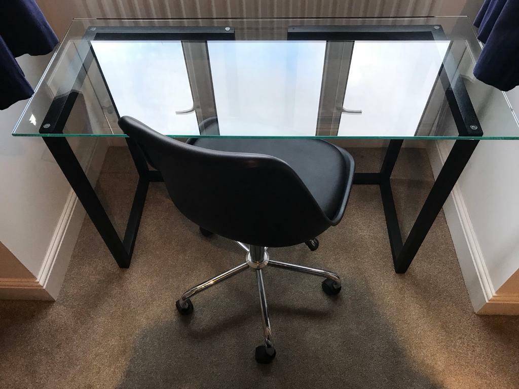 Habitat Glass Top Desk with Black Office Chair | Mint Condition!