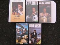 Five drumming tuition VHS video tapes.