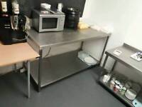 Large stainless steel table with undershelf