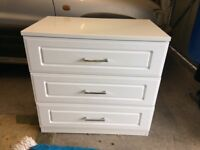 White high gloss 3 draw bedroom cabinet