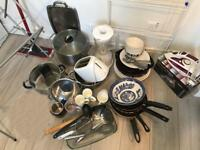Stainless steel pans, toaster, iron, study lamp, kitchen processor, plates, cups