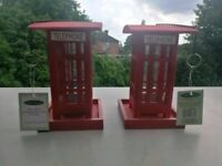 Oakdale Retro Red UK Telephone Box Bird Feeders (Pair of) (NEW)