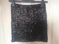 Black Matt sequin H&M ladies skirt worn once XS size 8-10