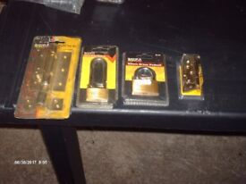 DOOR BOLT.PADLOCKS. BRASS HINGES
