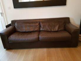 Habitat dark brown leather 3-seater sofa