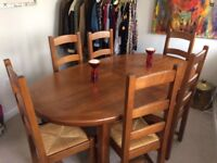 Solid oak dining room table and chairs. Extendable. 190 - 270cm. £1300 new