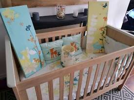 Mama's and Papa's Cot bed with full mama's and Papa's nursery set
