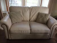 2x Cream Leather 2 Seater Sofas for sale