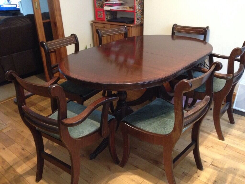 Mahogany Inlaid 8 Seater Extendable Dining Table With Chairs Br Claw Feet On Castors