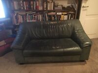 FREE Green leather 2 seater sofa