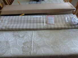 Roman Blind brand new fawn latte and cream check 880 w x 1130 d