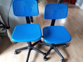 Ikea 2 x blue office/desk/study chairs