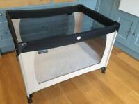 Travel cot with extra comfort mothercare mattress.