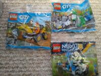 Lego Nexo Knights 30371 Knight's Cycle +Lego City 30312 digger +30313 street cleaner NEW Will post