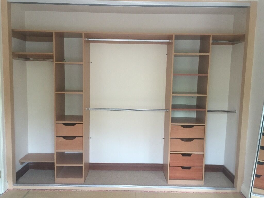 3 door floor to ceiling mirror sliderobe wardrobe with interior shelves drawers hanging in