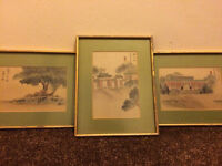 3x Japanese watercolours on silk