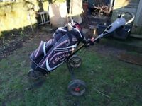 Masters golf 5 series 3 wheel push trolley and calla way cart bag