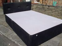 SUEDE MATERIAL BED COMPLETE BASE HEADBOARD & MATTRESS CAN ARRANGE DELIVERY ECCLES OR MCR