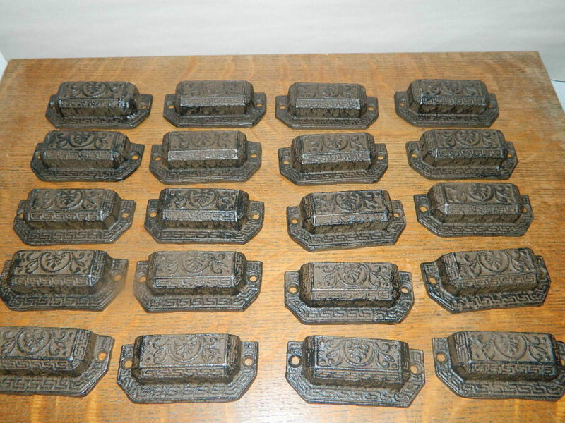 20 Pull Lot - Ornate Industrial Tool Seed Index File Bin Pull or Handles Cabinet
