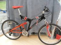 ADULTS QUALITY SARACEN TEAM RAW FULL SUSPENSION MOUNTAIN BIKE IN VERY GOOD CONDITION