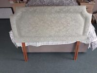 Bed head for king size bed in light green material. Good condition. New bed reason for sale.