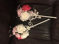 free delivry post 2 new bridemaid flower girl bouquets artificial realistic flowers pink white roses