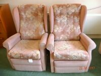 Armchairs-Matching pair of pale pink chairs