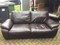 2 x Two Seater Brown Leather Sofa's - BARGAIN!