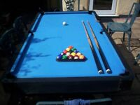 6 foot Pool table with balls and 2x cues - nice and solid