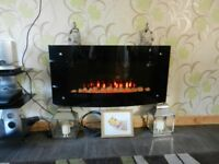 Wall mounted wide curved electric fire with remote control