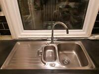 Stainless sink 1.5 bowl plus drain kit and screws
