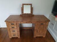 Solid oak desk with mirror