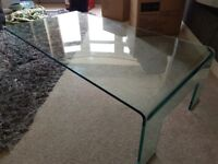 Clear Rectangular Glass Coffee Table - Modern Living Room Furniture