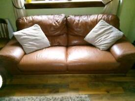 2&3 seater brown leather sofas with 2 stools