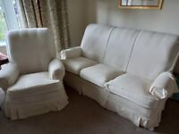Parker Knoll three piece suite - cream covers