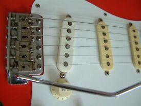 Fender Squier '62 Stratocaster electric guitar- Young Chang, Korea-Circa '87- E -serial - Fiesta Red