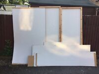 WHITE WOODEN PEGBOARD. Great for displays, garages, storage, largest 8ft by 4ft.