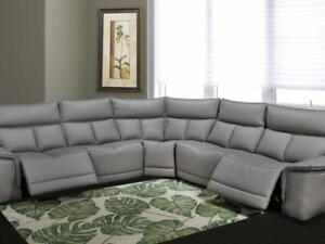 High Grade Leather Power Sectional with Recliner (KA216)