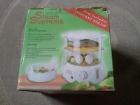 Brand new 2 tier Hinari steamer, boxed,never been used, instructions,recipe book etc.