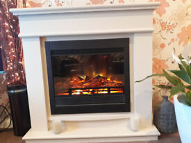 Barely used log effect convection fire with solid wood fire surround (Cream)