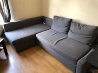 L shaped corner IKEA sofa grey double bed