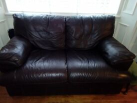 2 seater sofa, dark brown leather.