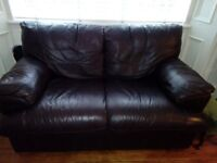 2 seater sofa, dark brown leather.